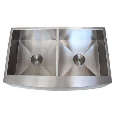 Farmhouse Curve Apron Front Stainless Steel 36 in. x 21 in. x 10 in. 16-Gauge Double 50/50 Bowl Zero Radius Kitchen Sink