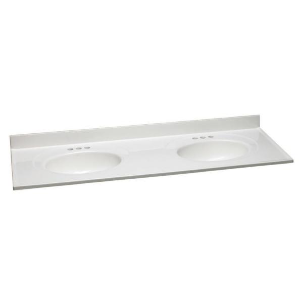 61 in. W Cultured Marble Vanity Top in Solid White with Solid White Double Basins