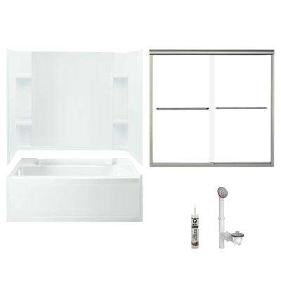 Accord 32 in. x 60 in. x 73.25 in. Bath and Shower Kit with Left-Hand Drain in White and Brushed Nickel