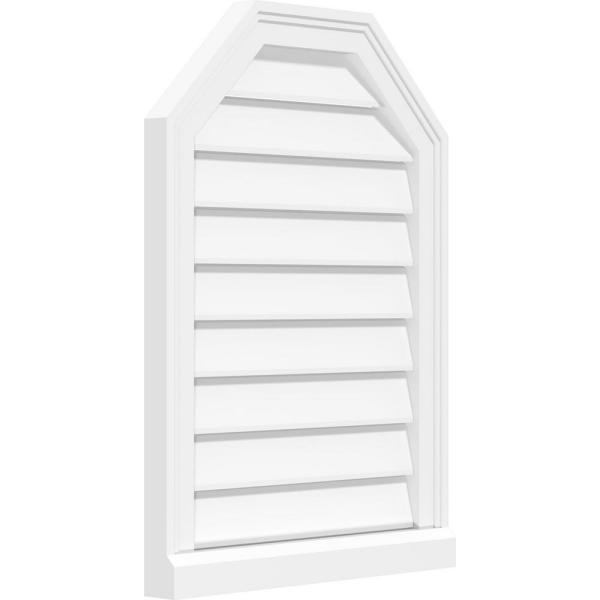 Ekena Millwork 12 X 32 Octagonal Top Surface Mount Pvc Gable Vent Functional With Brickmould Sill Frame Gvpot12x3203sf The Home Depot