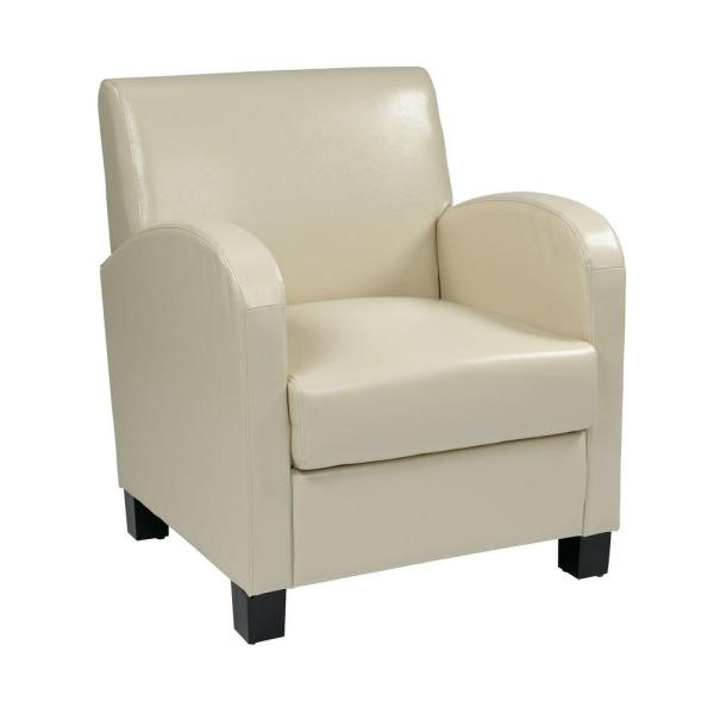 OSP Home Furnishings Cream Eco Leather Club Arm Chair MET807RCM