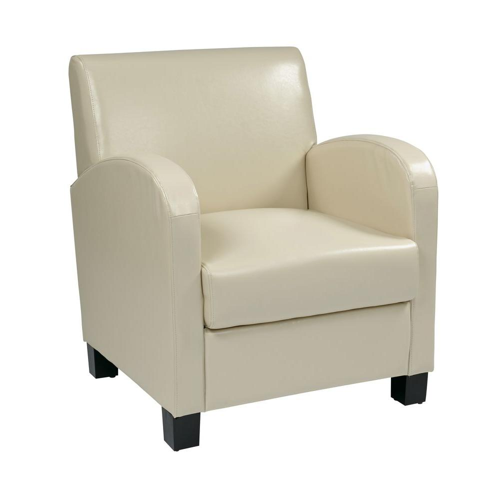 OSPdesigns Cream Eco Leather Club Arm Chair