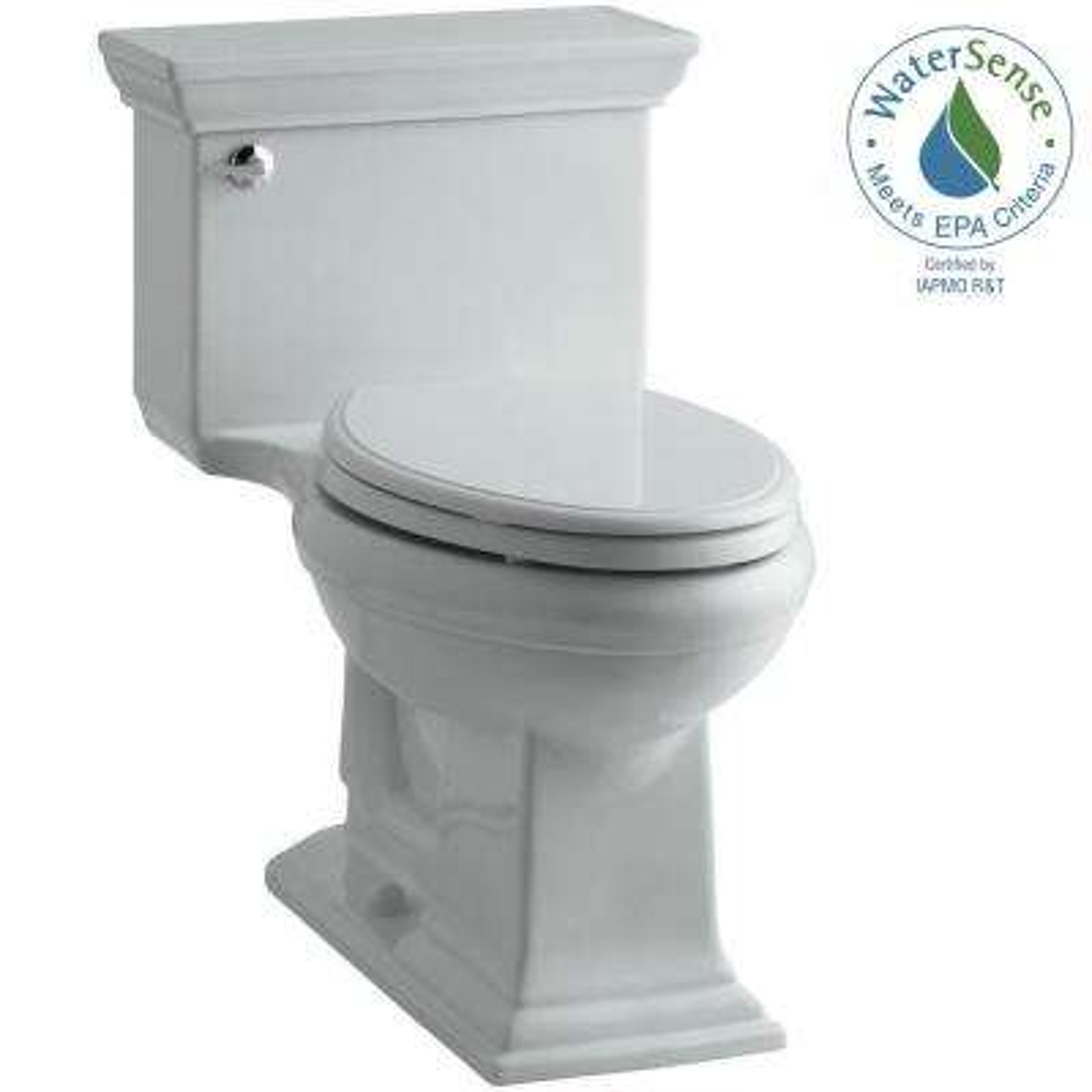 Memoris Stately 1-Piece 1.28 GPF Single Flush Elongated Toilet with AquaPiston Flush Technology in Ice Grey