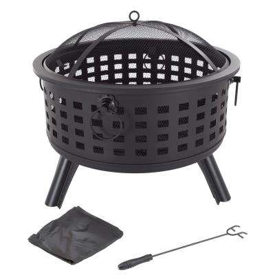 26 in. Steel Round Fire Pit with Spark Screen and Log Poker