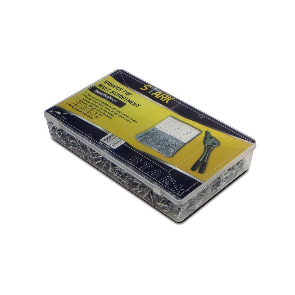 New 1000pc 1//8 Blind Pop Rivet Assortment for Hand /& Air Riveter w// Storage Case