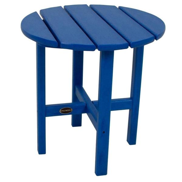 18 in. Pacific Blue Round Patio Side Table