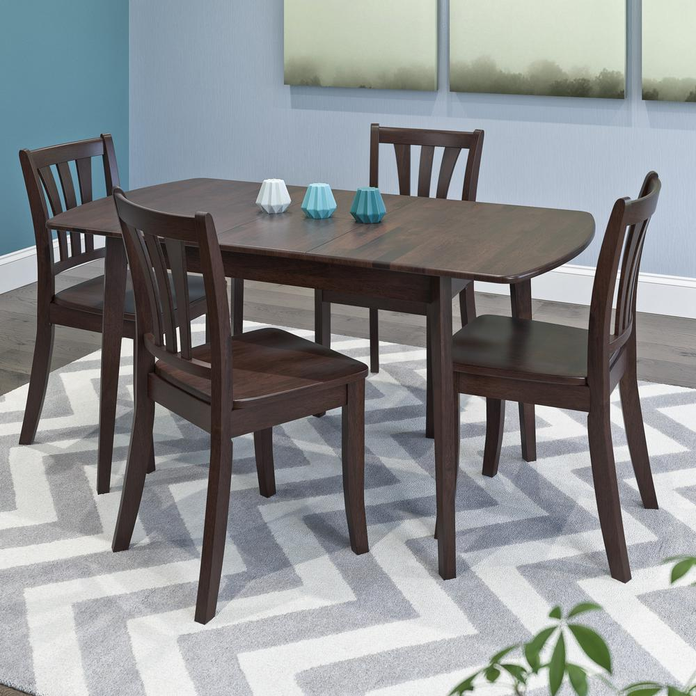 corliving dillon 5 piece extendable cappuccino stained solid wood dining set dsh 690 z2 the. Black Bedroom Furniture Sets. Home Design Ideas