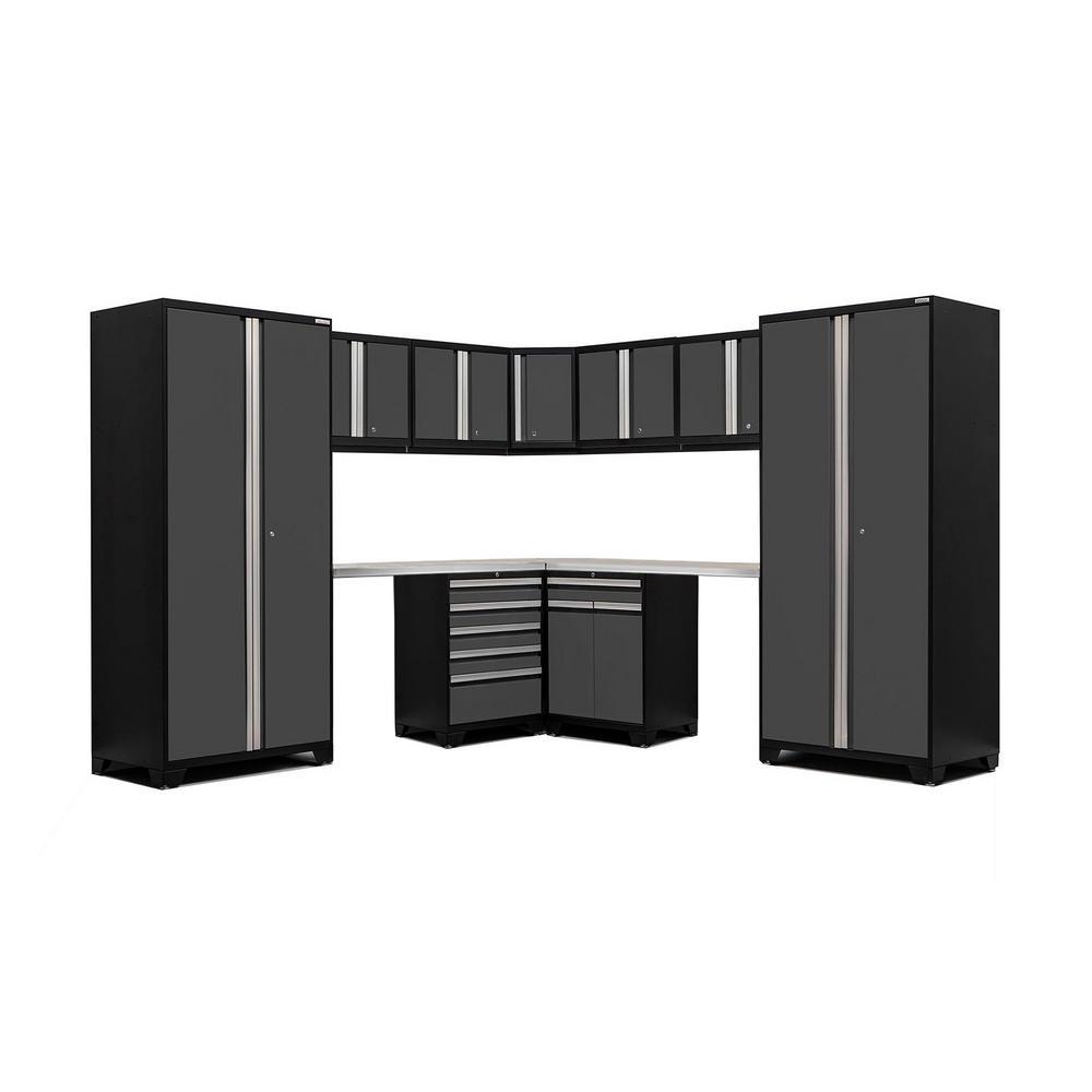 Pro 3.0 83.25 in. H x 208 in. W x 24 in. D 18-Gauge Welded Steel Stainless Steel Worktop Cabinet Set in Gray (12-Piece)