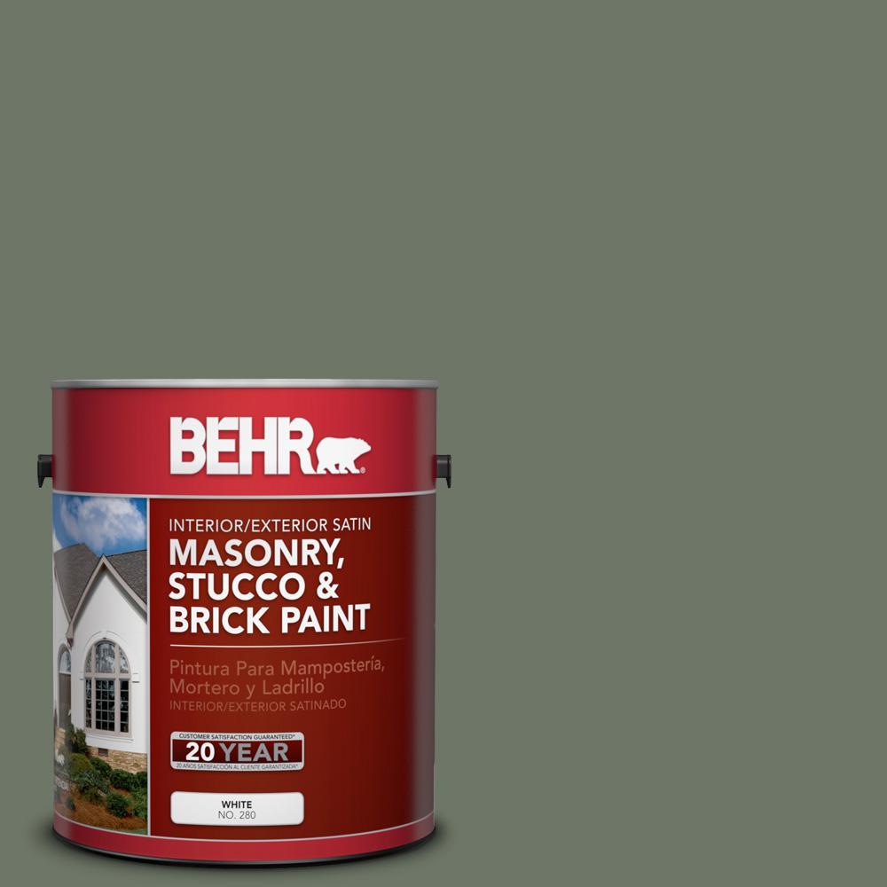 1 gal. #PPU10-19 Conifer Green Satin Interior/Exterior Masonry, Stucco and Brick Paint