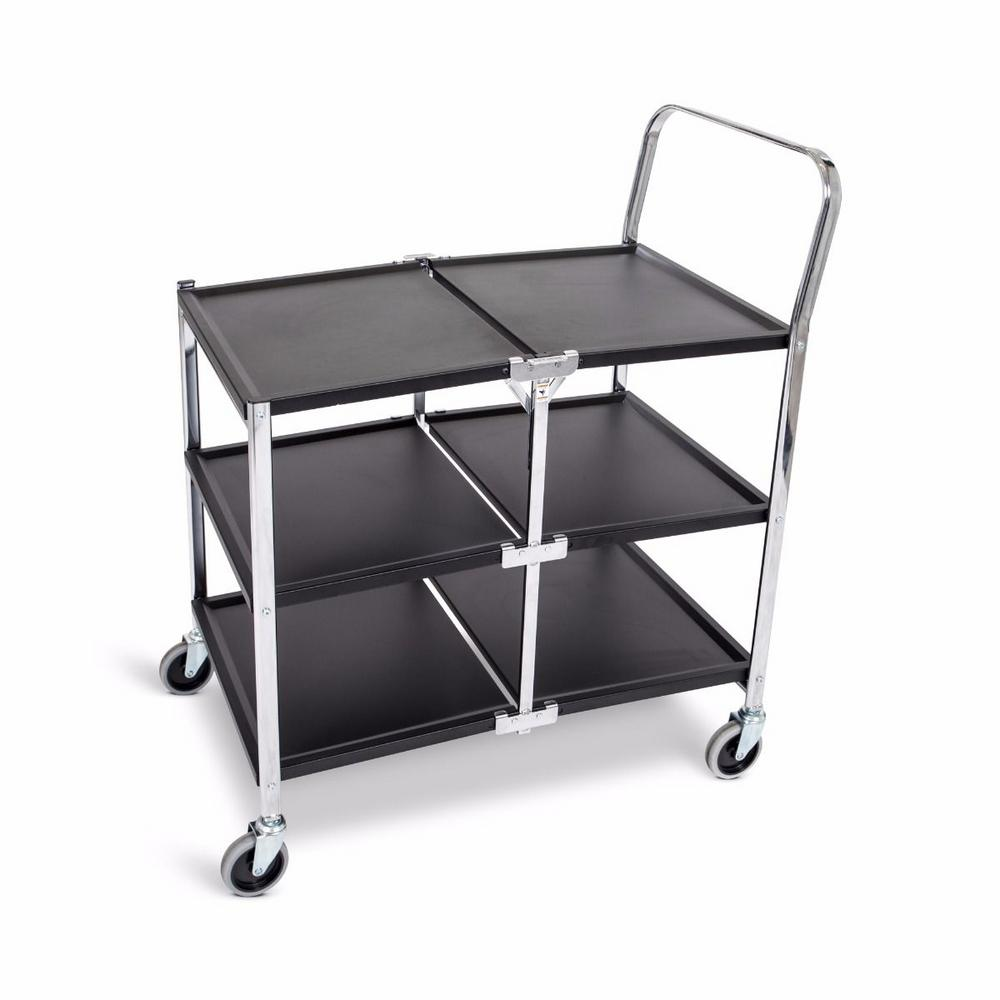 33.75 in. W 3-Shelves Steel Collapsible Metal Utility Cart with in