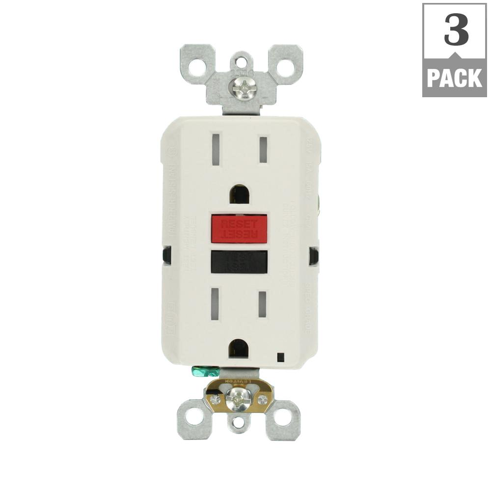 Leviton 15 Amp Self Test Smartlockpro Slim Duplex Tamper Resistant Gfci Electrical Outlet Wiring Multiple White