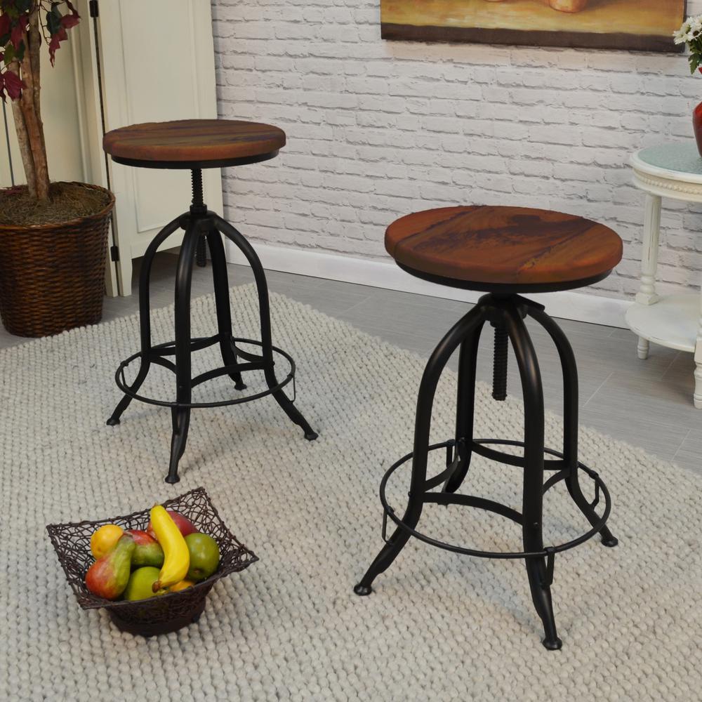 Carolina Cottage Ryder Adjustable Height Black and Chestnut Bar Stool (Set