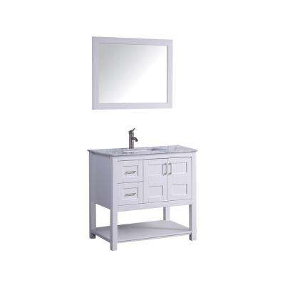 Norway 36 in. H x 22 in. D x 36 in. H Vanity in White with Marble Vanity Top in White with White Basin and Mirror