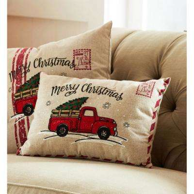 12 in. Vintage Truck Holiday Pillow (Set of 2)