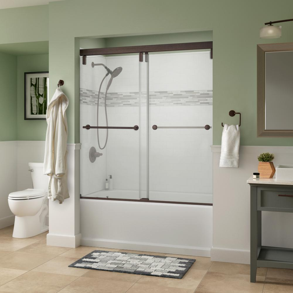Lyndall 60 in. x 59-1/4 in. Semi-Frameless Mod Sliding Tub Door