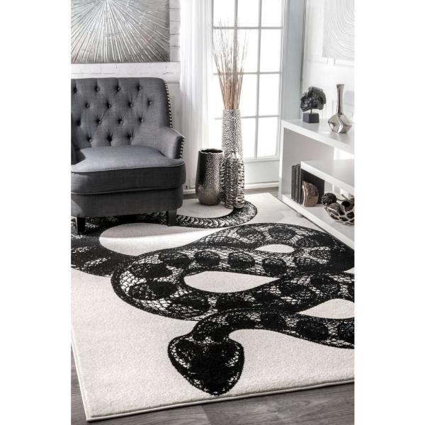 Nuloom Thomas Paul Serpent Black White 5 Ft X 8 Ft Area Rug Bdtp04a 508 The Home Depot