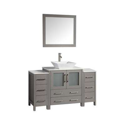 54 in. W x 18.5 in. D x 36 in. H Bathroom Vanity in Grey with Vanity Top White with Ceramic  Single Basin and Mirror
