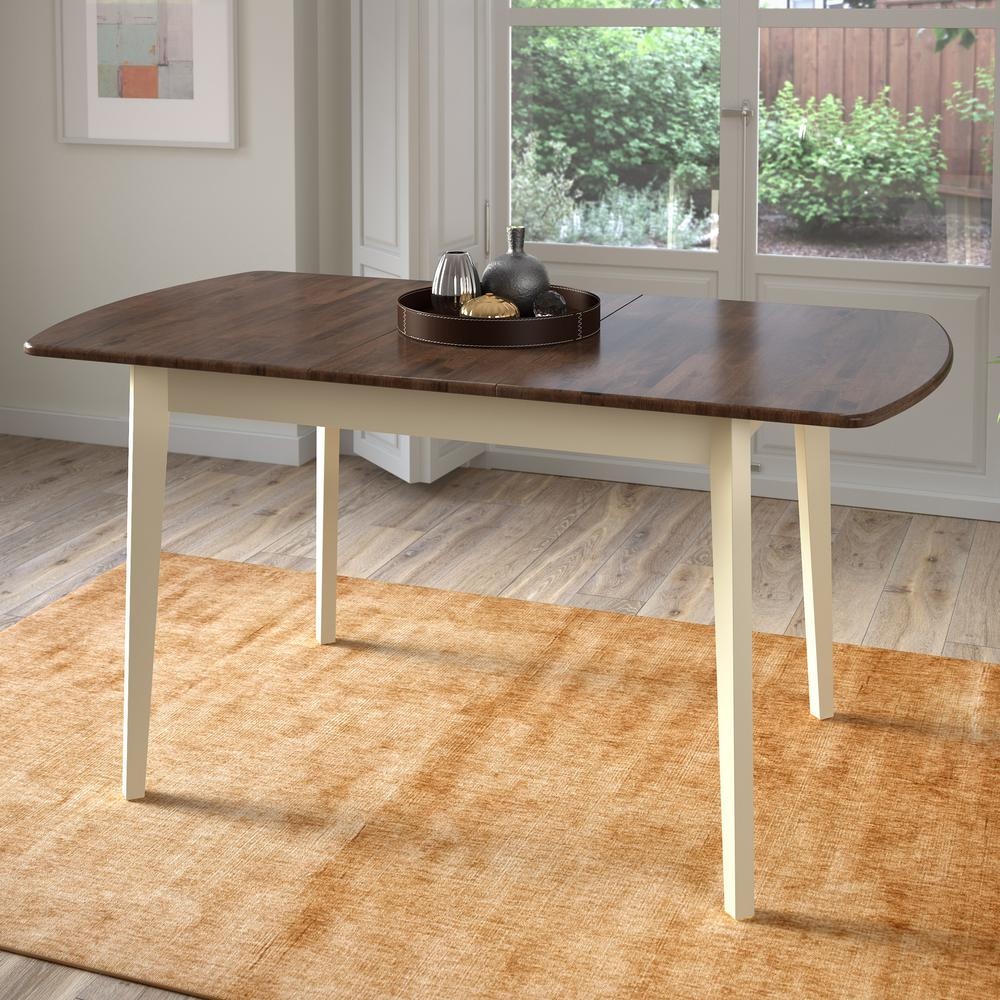 Dillon Dark Brown and Cream Wood Extendable Oblong Dining Table