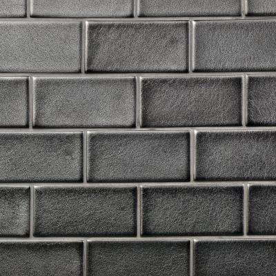 Oracle Gunmetal 3 in. x 6 in. Polished Ceramic Subway Tile (1 sq. ft.)