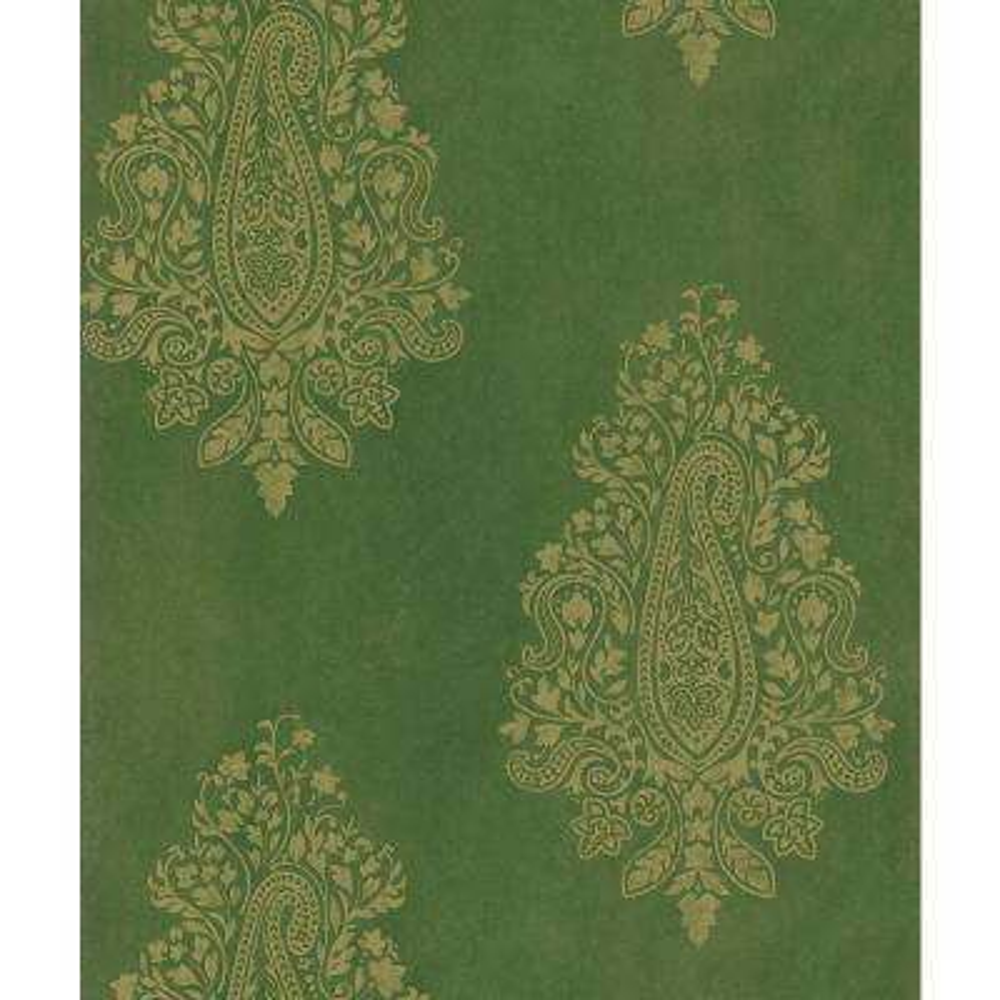 Mehndi Green Paisley Print Wallpaper Sample