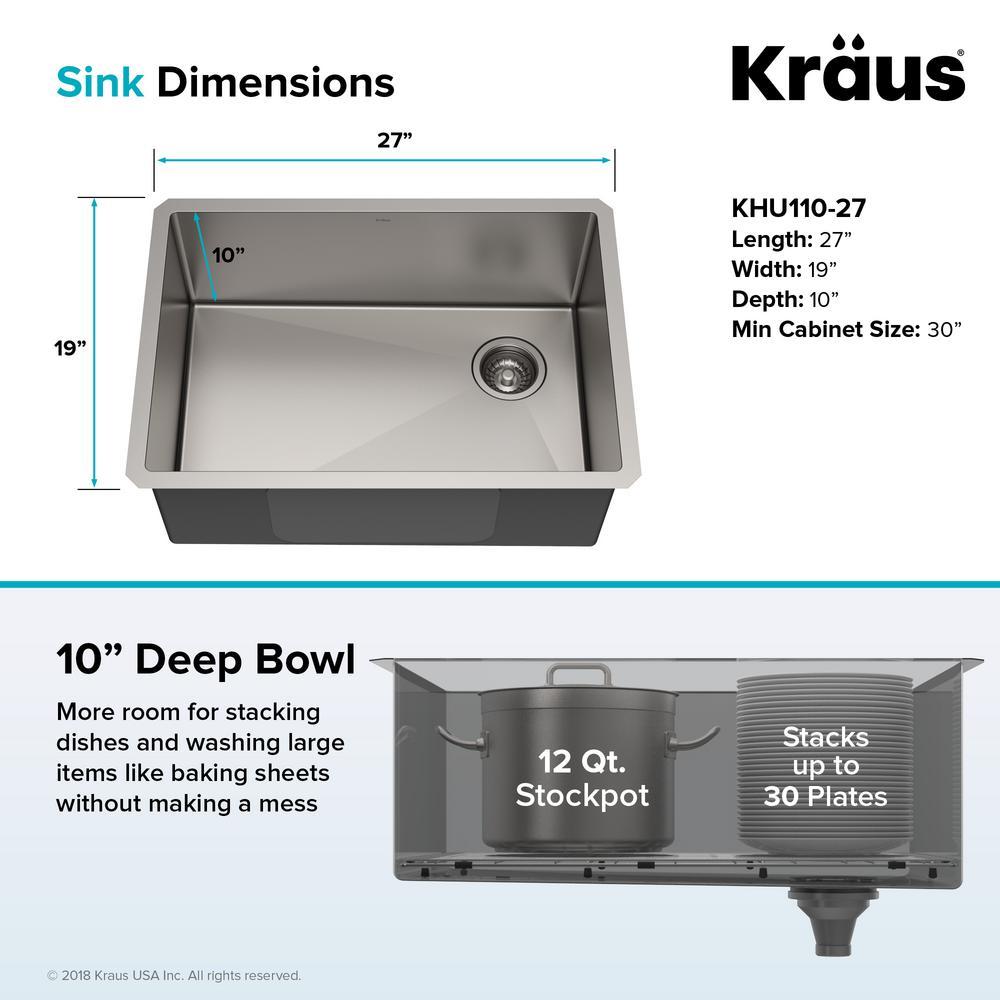 Kraus Standart Pro Undermount Stainless Steel 27 In Single Bowl Kitchen Sink Khu110 27 The Home Depot