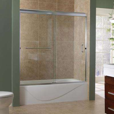 Marina 60 in. x 60 in. Semi-Framed Sliding Tub Door in Silver with 3/8 in. Clear Glass