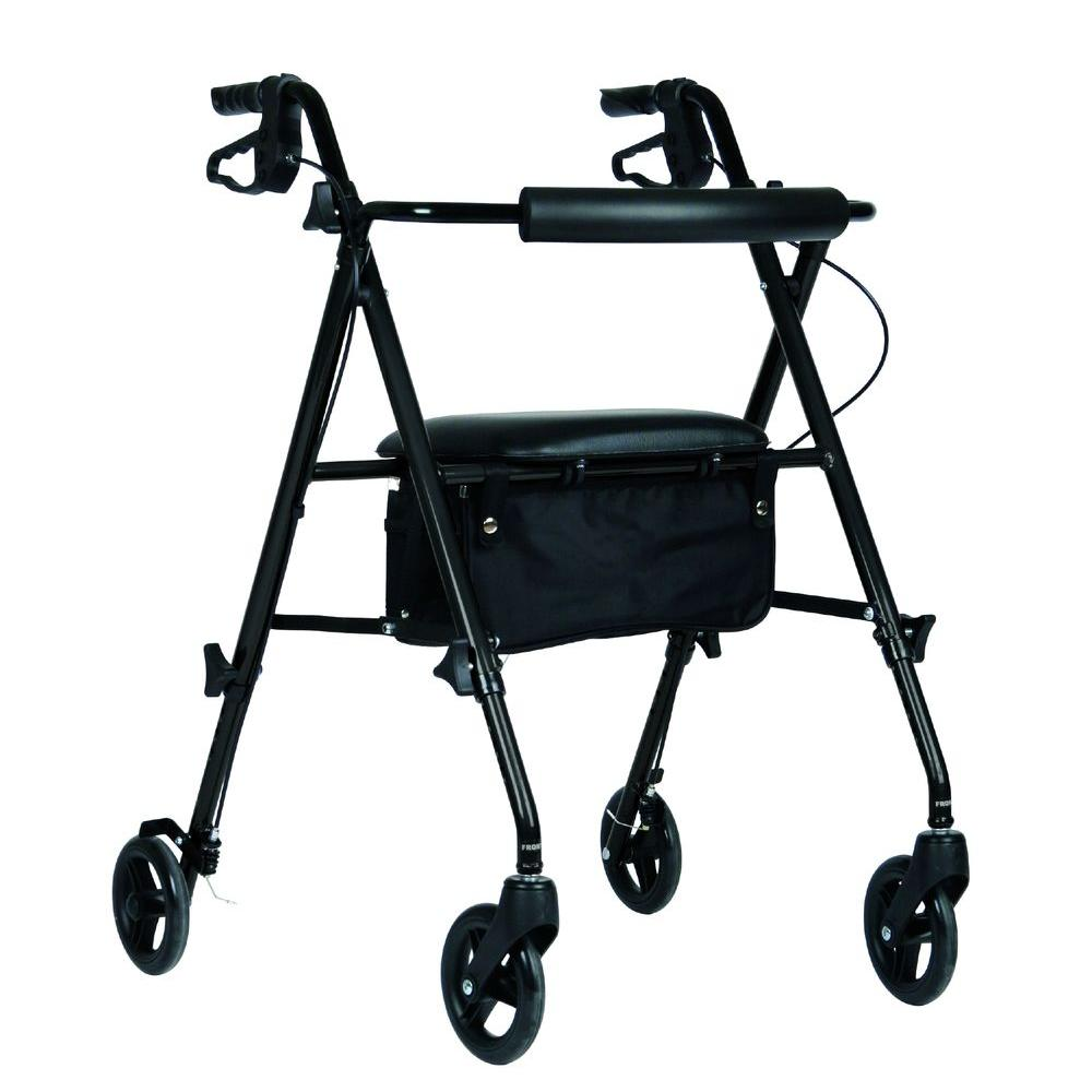 Medline Aluminum Lightweight Deluxe Folding 4-Wheel Rollator in Black