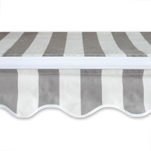 10 ft. Manual Patio Retractable Awning (96 in. Projection) in Grey and White Stripe