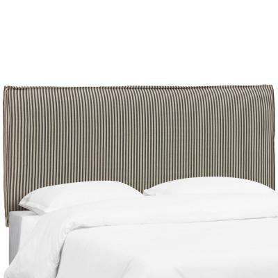 Scout Stripe Charcoal King French Seam Slipcover Headboard