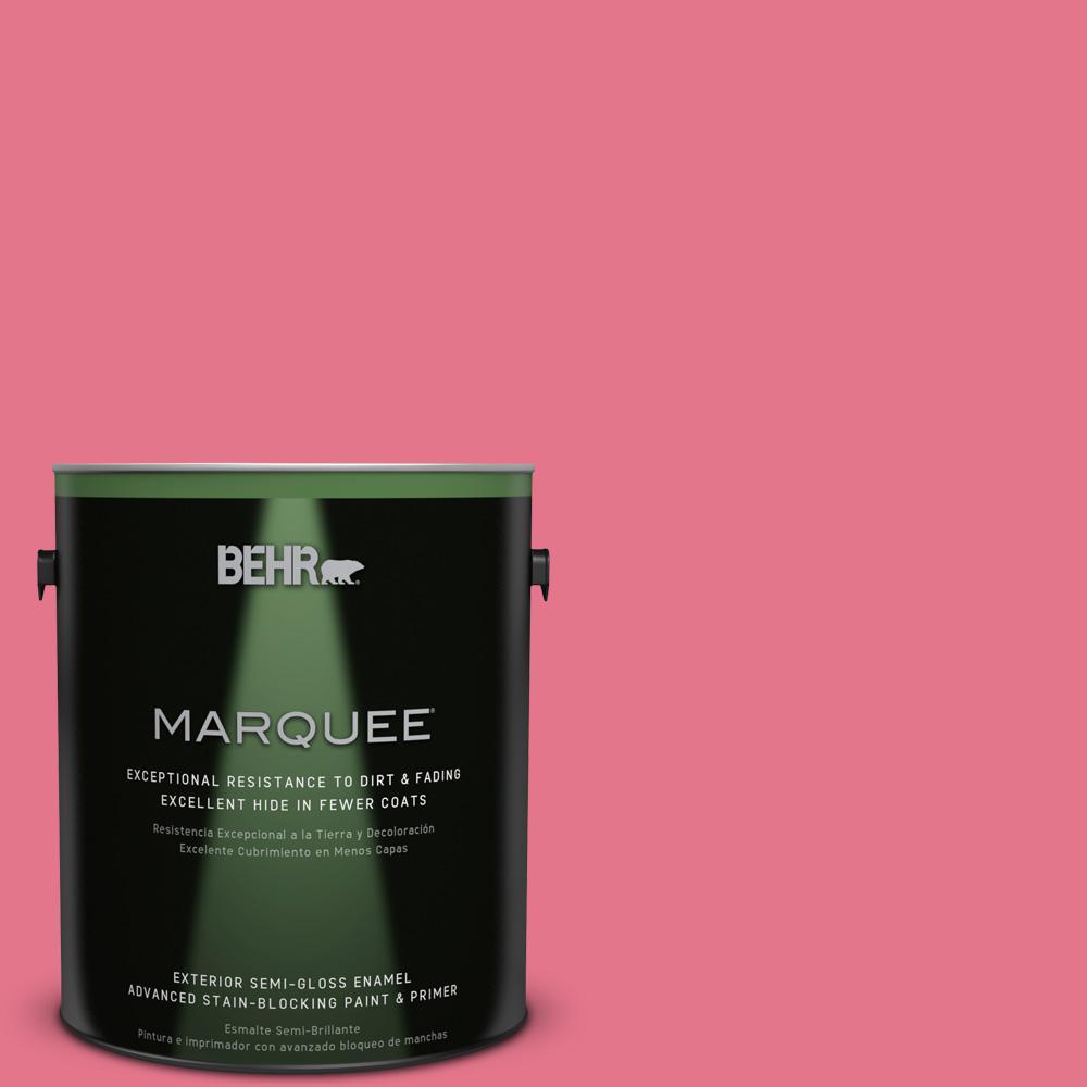 BEHR MARQUEE 1-gal. #120B-6 Watermelon Pink Semi-Gloss Enamel Exterior Paint