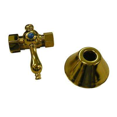1/2 in. x 5/8 in. Compression Straight Stop with Flange in Polished Brass
