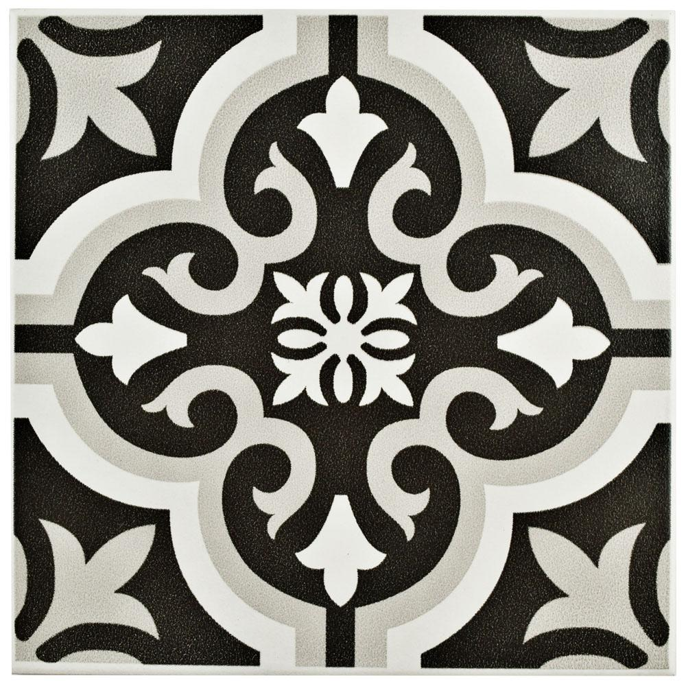 Merola tile braga classic 7 3 4 in x 7 3 4 in ceramic for Tiles black and white