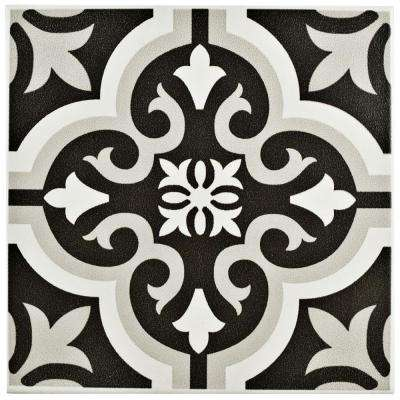 black and white floor tile. Braga Classic 7 3 4 In  X Black Ceramic Tile The Home Depot