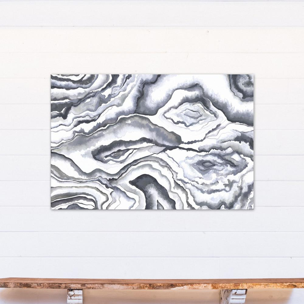32 in. x 48 in. Gray Watercolor Geodes Printed Canvas Wall