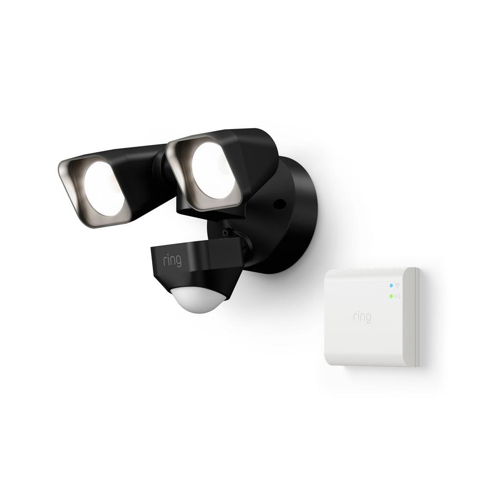 24-Watt Black Smart Lighting Motion Activated Outdoor Integrated LED Flood Light Wired with Smart Lighting Bridge