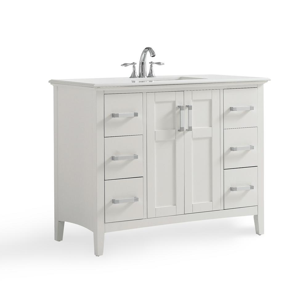 Simpli Home Winston 42 in. W x 22 in. D Bath Vanity in Soft White with Quartz Marble Vanity Top in Bombay White with White Basin