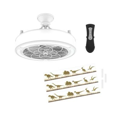 Anderson 22in. LED Indoor/Outdoor White Ceiling Fan with Remote Control and Dinosaur Insert Panel