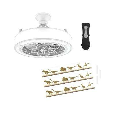 Anderson 22 in. LED Indoor/Outdoor White Ceiling Fan with Remote Control and Dinosaur Insert Panel