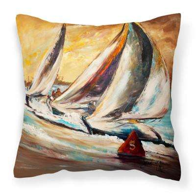 14 in. x 14 in. Multi-Color Lumbar Outdoor Throw Pillow Boat Race Sailboats Canvas