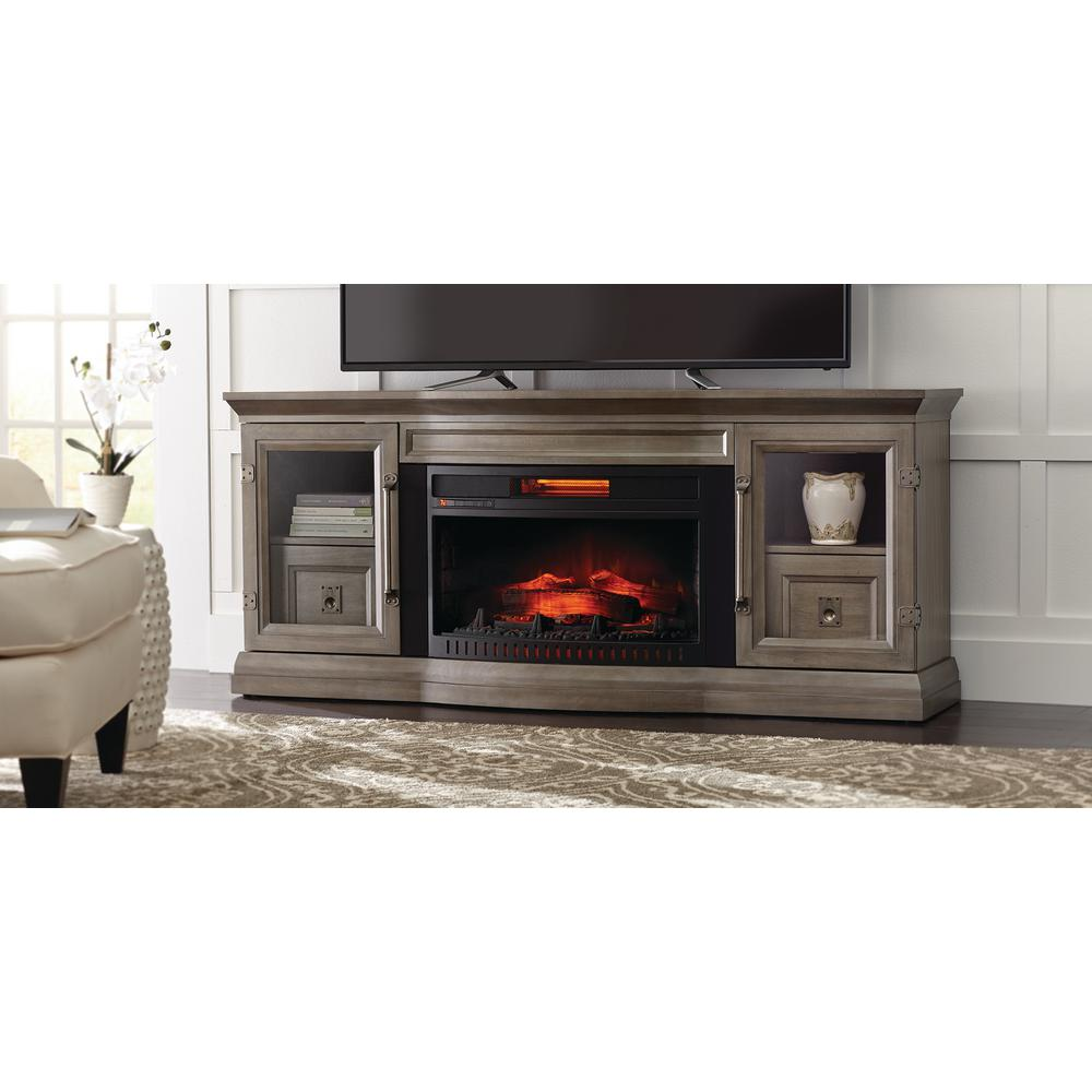 home decorators collection cinder lake 65 in tv stand infrared electric fireplace with sound. Black Bedroom Furniture Sets. Home Design Ideas
