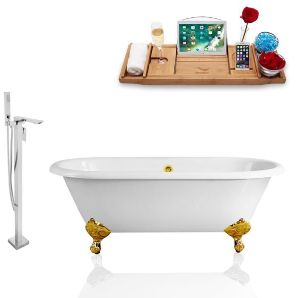 66 in. Cast Iron Clawfoot Non-Whirlpool Bathtub in White Tub, Faucet and Tray Set