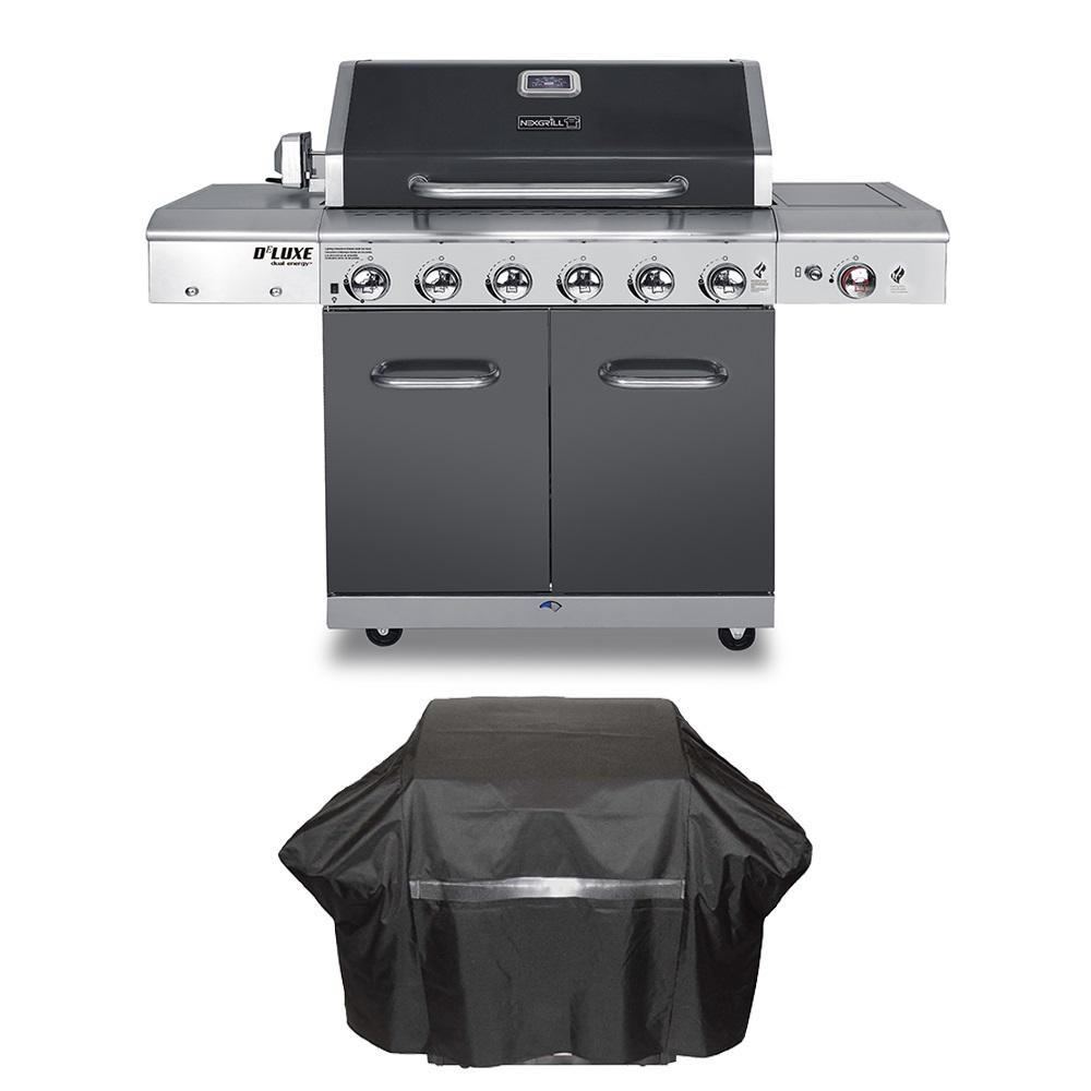 Nexgrill Deluxe 6-Burner Propane Gas Grill in Slate with Ceramic Searing Side Burner Plus Grill Cover