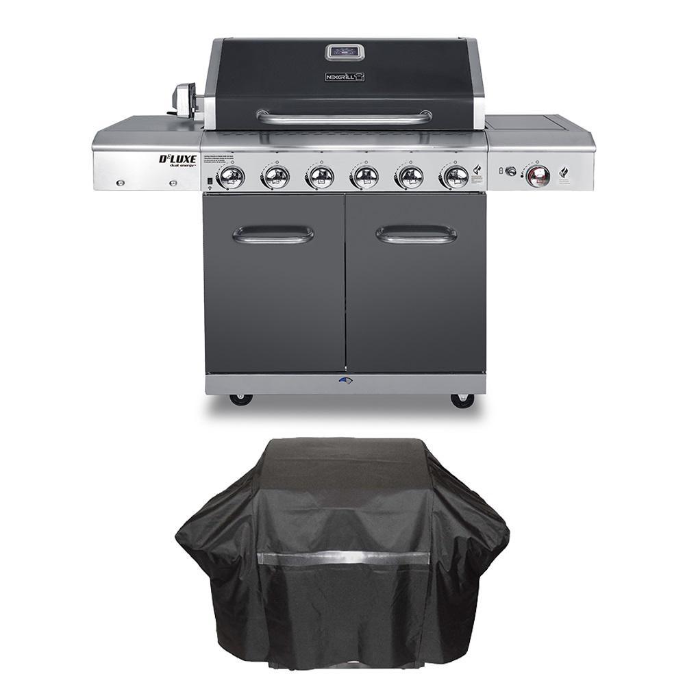 Nexgrill Deluxe 6-Burner Propane Gas Grill in Slate with Ceramic Searing Side Burner Plus Grill Cover by Nexgrill