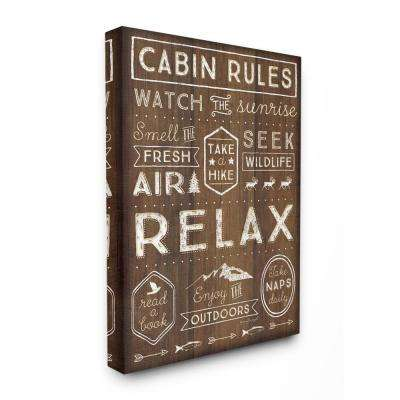 """24 in. x 30 in. """"Outdoors Cabin Rules"""" by Jennifer Pugh Printed Canvas Wall Art"""