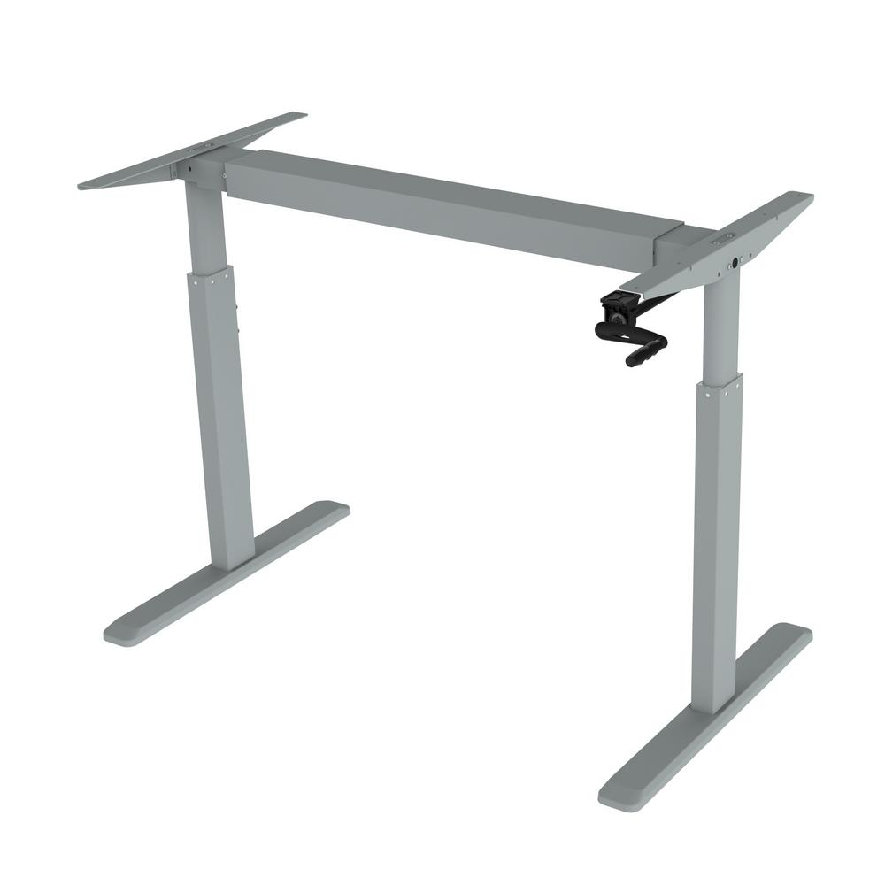 canary grey adjustable height crank desk frame  table top