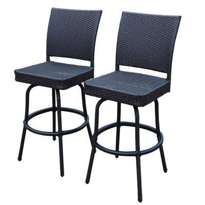 Elite Swivel Wicker Outdoor Bar Stool (2-Pack)