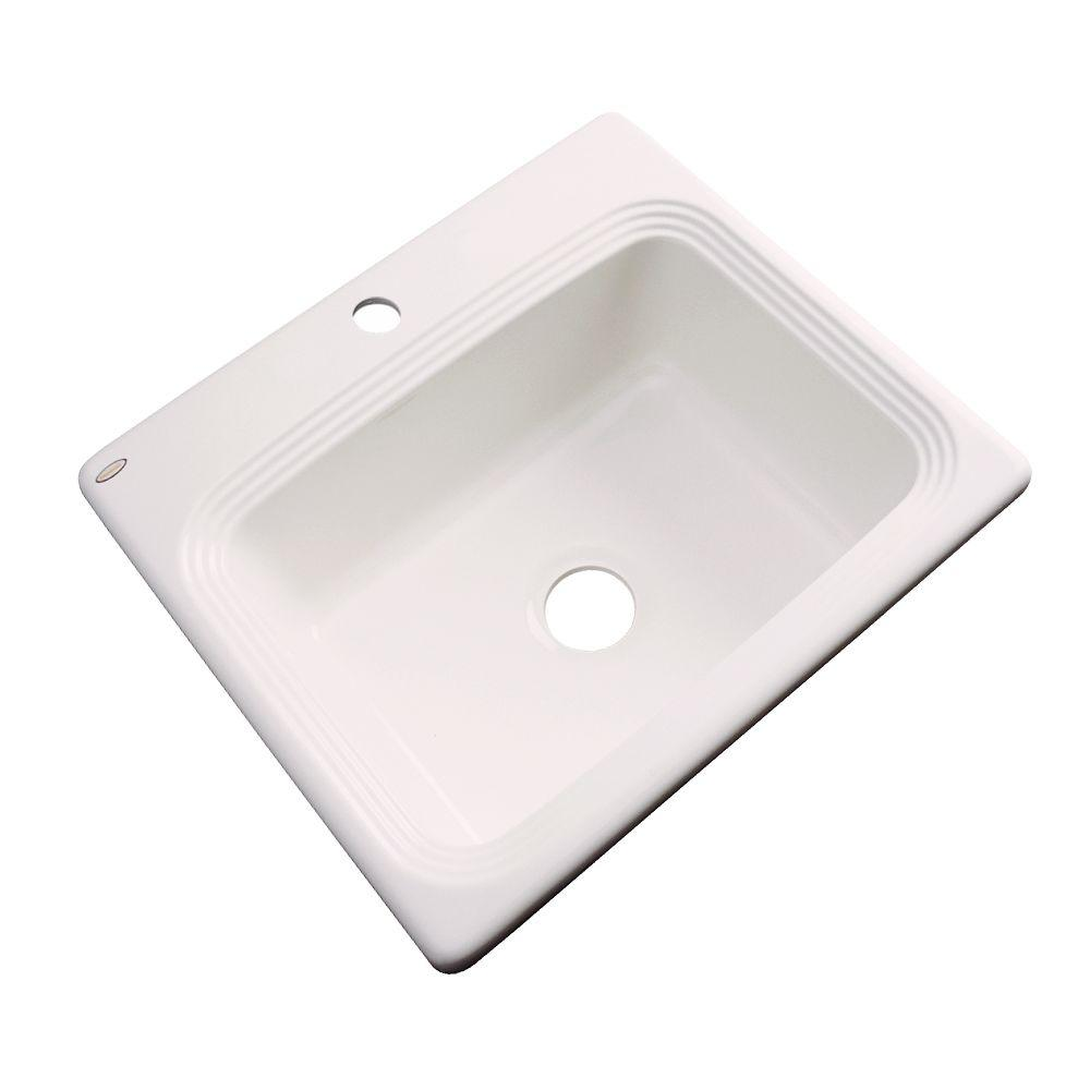 Rochester Drop-In Acrylic 25 in. 1-Hole Single Bowl Kitchen Sink in