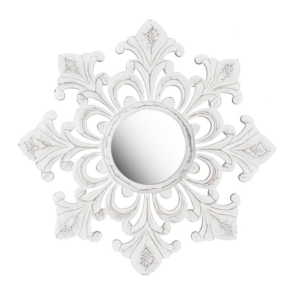 Tesoro White Carved Mirror