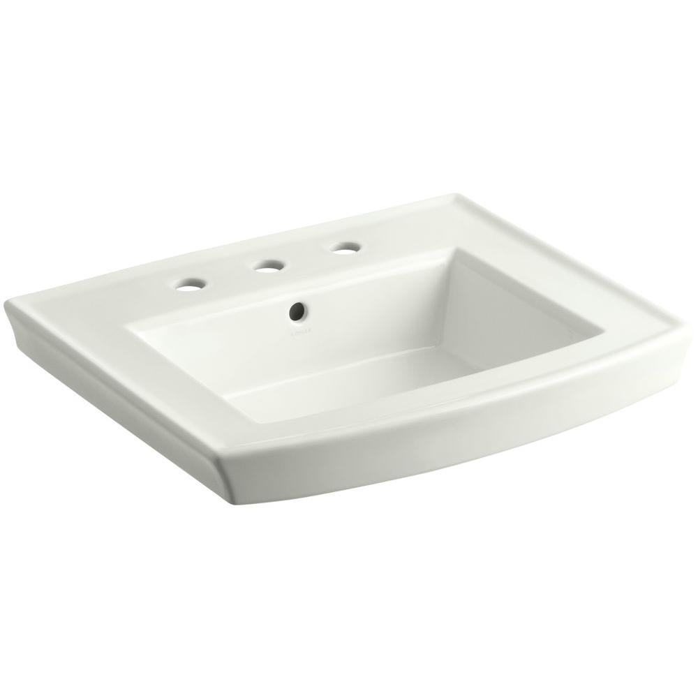 Archer 20.4375 in. Vitreous China Pedestal Sink Basin in Dune with