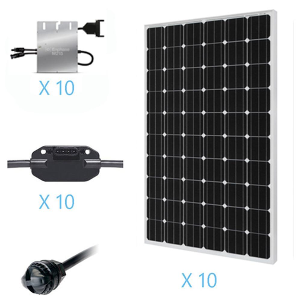 Grid tied solar kits solar panel kits the home depot 2500 watt monocrystalline on grid solar kit for solar system solutioingenieria Choice Image
